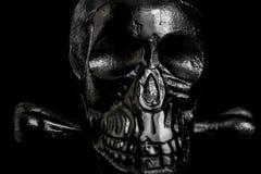 Metallskalle på svart bakgrund royaltyfri fotografi