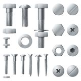 Metallskruvar Beståndsdelar för konstruktion för stål för huvud för nit för bultskruvmutter Realistiska bultar isolerad vektorupp vektor illustrationer
