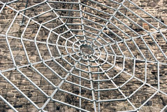 Metallspinnenweb Stockfoto