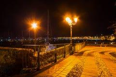 Metallstaket i Alghero shoreline Royaltyfri Fotografi