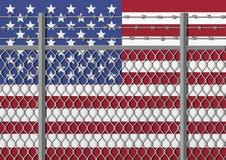 Metallstaketet med försett med en hulling - binda på en USA flagga Avskiljandebegrepp, gränsskydd Samkvämfrågor på flyktingar stock illustrationer