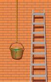 Metallstege nära tegelstenväggen stock illustrationer