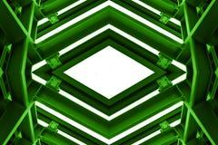 Metallstruktur som är liknande till rymdskeppinre i grön signal Fotografering för Bildbyråer