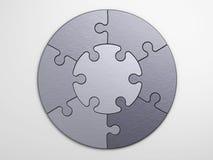 Metallstycken av pusslet som förlägger begrepp Arkivbilder