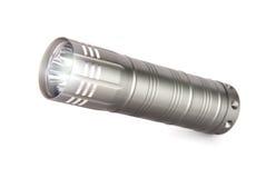 Metalltaschenlampe, lokalisiert auf weißem Hintergrund Lizenzfreie Stockfotos