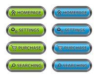 Metalltasten mit Ikonen für Web site Stockfotos