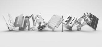 Metallteile, die in der Reihe auf weißem Hintergrund stehen Stockfotografie