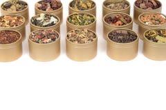 Metalltenn av organiskt te i rader Arkivbilder