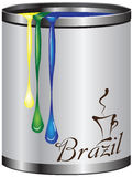 Metalltenn med målarfärgfärgflaggan av Brasilien Royaltyfria Bilder