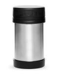 Metallthermosflaschesammlung lokalisiert auf weißem Hintergrund Stockfotografie