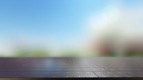 Metalltischplatte auf buntem bokeh Zusammenfassungshintergrund 3D übertragen Lizenzfreies Stockfoto