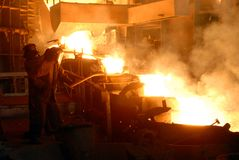 Metallugry. Glowing, molten hot steel. Stell casting Stock Photos