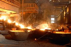 Metallugry. Glowing, molten hot steel. Stell casting Royalty Free Stock Photos