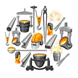 Metallurgical background design. Industrial items and equipment Stock Image