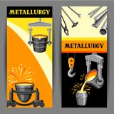 Metallurgical banners design. Industrial items and equipment Royalty Free Stock Photos