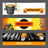 Metallurgical banners design. Industrial items and equipment Stock Photo