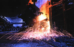 Metallurgical industry. Flood of steel in shop  converter of manufacture metallurgical industry Stock Photos