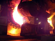 Metallurgical manufacture. Pour steel at metallurgical combine Royalty Free Stock Image