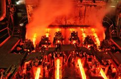 Metallurgical plant continuous casting machine Royalty Free Stock Image