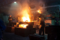 Metallurgical plant, hot metal casting. royalty free stock images