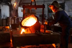 Metallurgical plant, hot metal casting. Stock Image