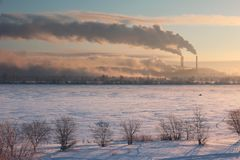 Metallurgical plant. On winter sunrise. Magnitogorsk, Russia royalty free stock images