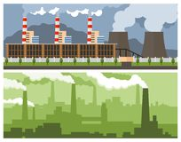 Metallurgical Plant and Power. Two industrial banner - Metallurgical Plant and Power Plant Stock Illustration