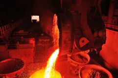 Metallurgical plant produces steel. Heavy industry metallurgical plant produces hot steel iron Stock Images