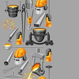 Metallurgical seamless pattern. Industrial items and equipment Royalty Free Stock Photo