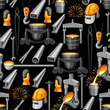Metallurgical seamless pattern. Industrial items and equipment Royalty Free Stock Images