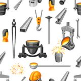 Metallurgical seamless pattern. Industrial items and equipment Stock Images
