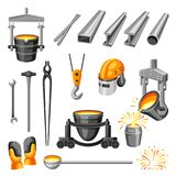 Metallurgical symbols set. Industrial items and equipment Stock Image