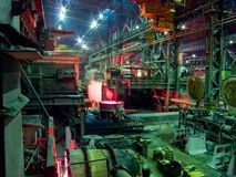 Metallurgical works, industrial production process stock image