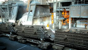 Metallurgical works. Rail freight transportation of scrap metal at steel plant stock footage