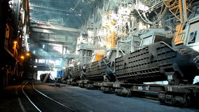 Metallurgical works. Rail freight transportation of scrap metal at steel plant stock video