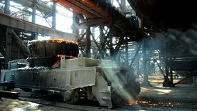 Metallurgical works. Rail freight transportation at steel plant stock video footage