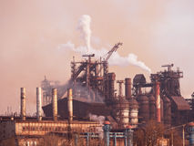 Metallurgical works with smoke Royalty Free Stock Images