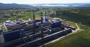 Metallurgische Betriebsaluminiumvogelperspektive Stockfoto
