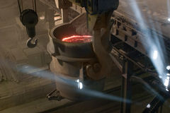 Metallurgy. Ferrous metallurgy, manufacture of pig-iron Royalty Free Stock Image