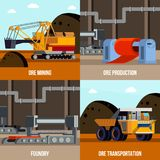 Metallurgy Flat Design Concept. With ore mining and transportation foundry machinery for steel production isolated vector illustration stock illustration