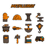 Metallurgy flat icon set Stock Photography