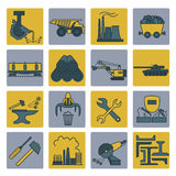 Metallurgy icon set. Colour version design. Vector illustration Stock Images
