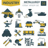 Metallurgy icon set. Colour version design. Vector illustration Royalty Free Stock Image