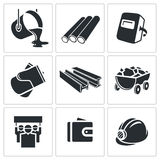 Metallurgy Icons set Stock Photos