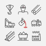 Metallurgy. Line icons. Vector signs for web graphics. Metallurgy icons. Vector signs for web graphics stock illustration
