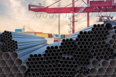 Metallurgy industry concept. Many steel pipes stacked. 3D rendered illustration. Metallurgy industry concept. Many steel pipes stacked. 3D rendered illustration royalty free stock photo
