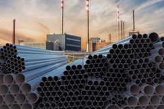 Metallurgy industry concept. Many steel pipes stacked. 3D rendered illustration.  vector illustration