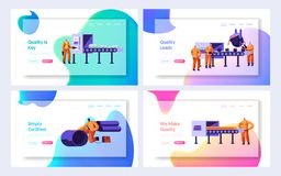 Metallurgy Industry Set. Raw Ore on Conveyor Belt, Hot Steel Pouring in Form, Pipe Production Factory Workshop Working Process. Website Landing Page, Web Page royalty free illustration