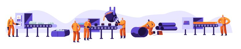 Metallurgy Industry Set. Resource Mining, Smelting of Metal in Big Foundry, Hot Steel Pouring in Steel Plant. Factory Workshop. Steel Workers in Metallurgy stock illustration