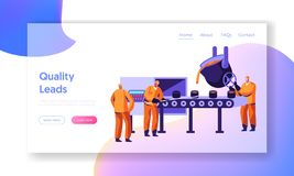 Metallurgy Industry Workers Smelting Metal in Big Foundry and Pouring Molten Steel or Iron Ore in Form During Smelting Process. Website Landing Page, Web Page vector illustration